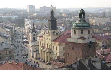 Brama Krakowska, Kościół św. Ducha, Ratusz, widok z Wieży Trynitarskiej