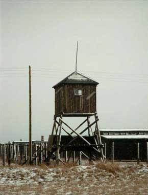 Wieża strażnicza w niemieckim obozie zagłady Majdanek