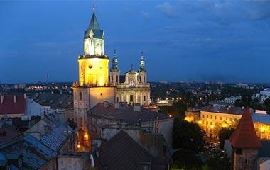 Stare Miasto w Lublinie - wieża trynitarska, archikatedra i baszta gotycka